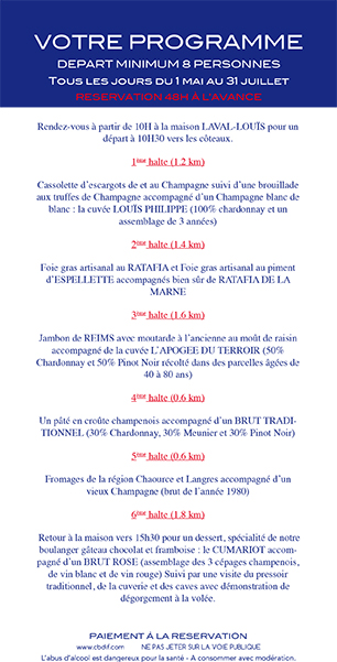 Programme - Promenade gourmande du Champagne Laval Louis